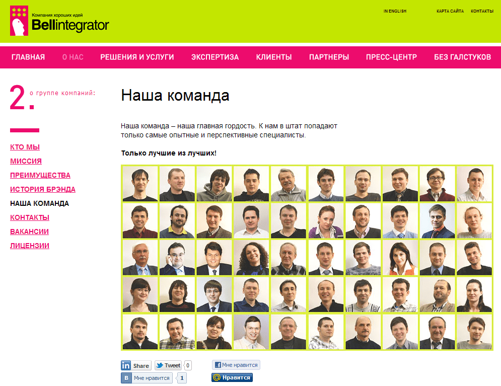 Bellintegrator наша команда неудачный сайт