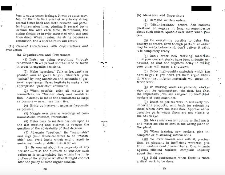 Как саботировать работу на предприятии. Инструкция ЦРУ 1944 года